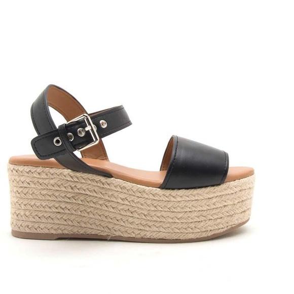 7fc0fa2f9ce Qupid platform espadrille wedge sandals NWT